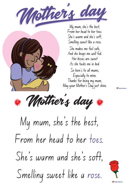 Mothers Day Poems for Preschool